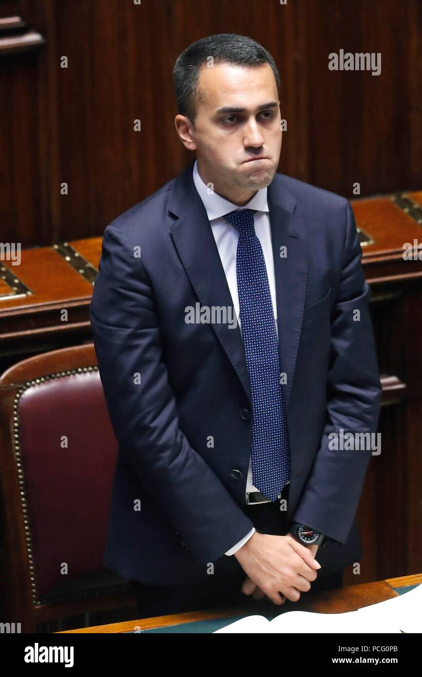 Italy, Rome, 02 August, 2018 : The Minister of Labour, Social Policies, Economic Development and Vice Premier Luigi Di Maio, in the discussion in the Chamber of Deputies    Photo © Remo Casilli/Sintesi/Alamy Live News - Stock Image
