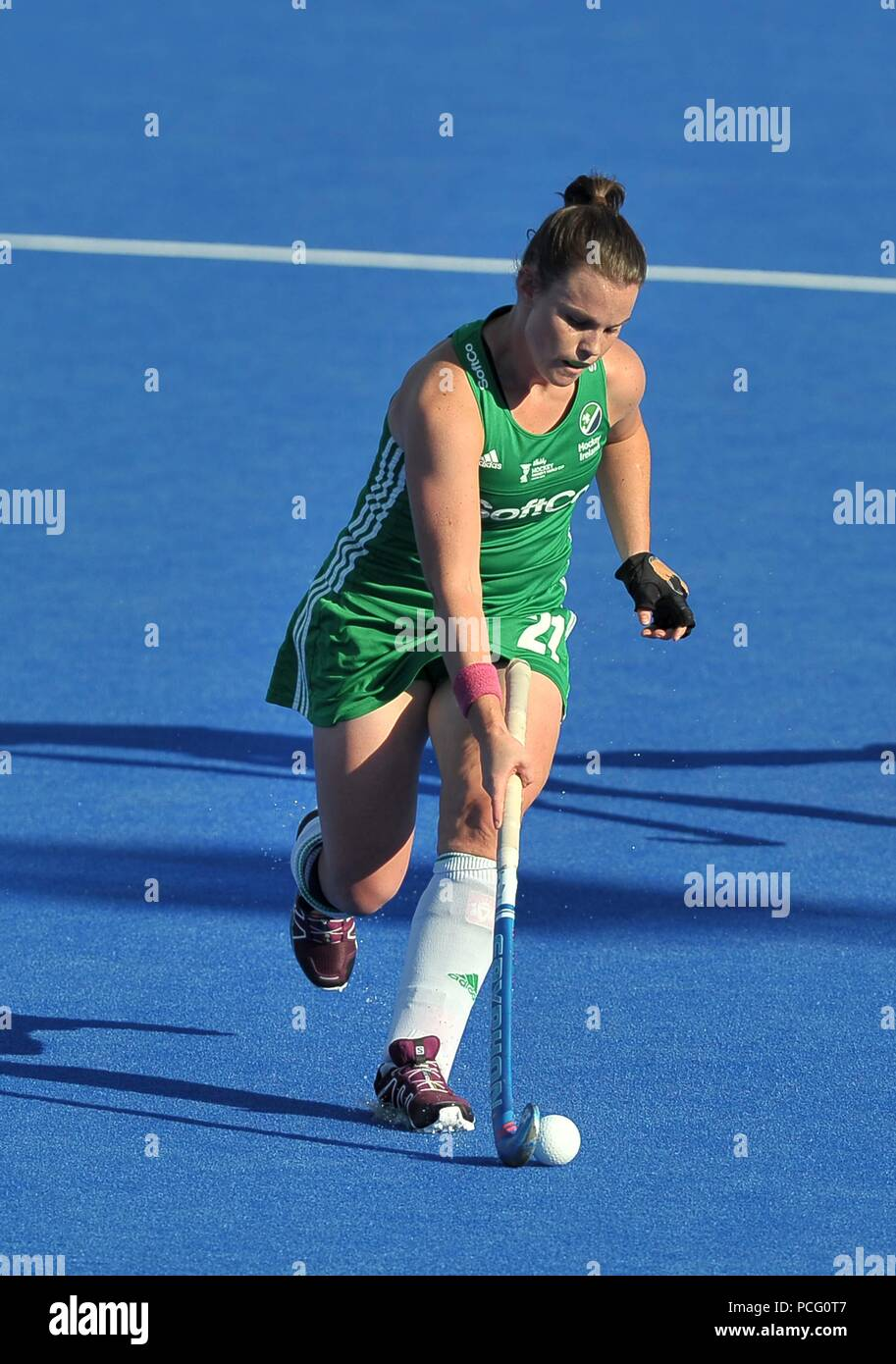 London, UK. Lizzie Colvin (IRL). Ireland V India. Match 32. Quarterfinal. Womens Hockey World Cup 2018. Lee Valley hockey centre. Queen Elizabeth Olympic Park. Stratford. London. UK. 02/08/2018. Credit: Sport In Pictures/Alamy Live News - Stock Image