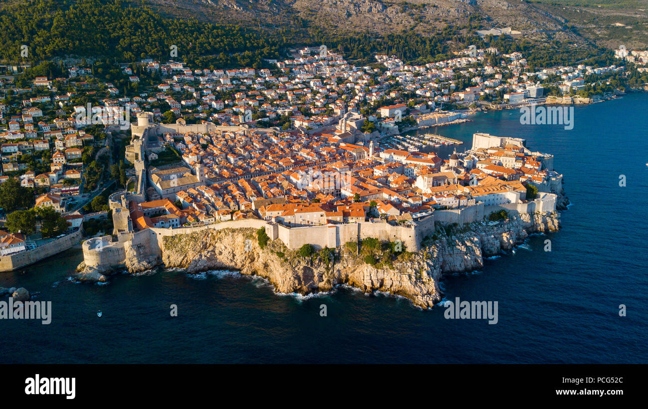Old City Walls of Dubrovnik, Croatia - Stock Image