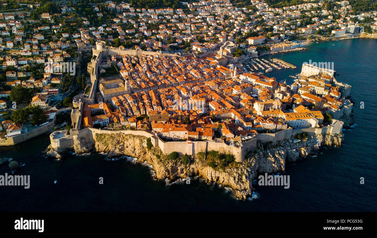 Old City Walls of Dubrovnik, Croatia - Stock Image