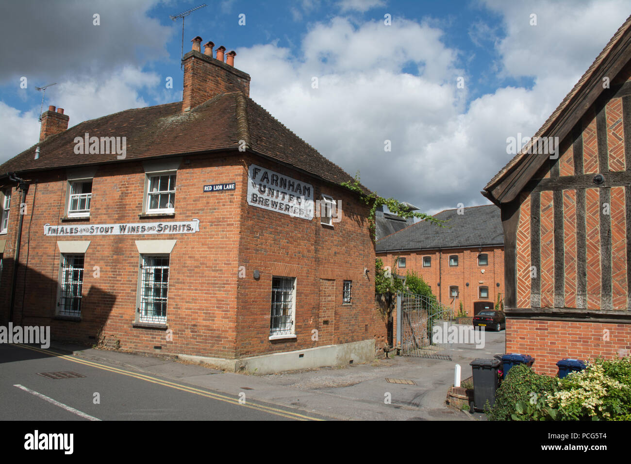 Farnham United Breweries old houses in Red Lion Lane, Farnham, Surrey, UK - Stock Image