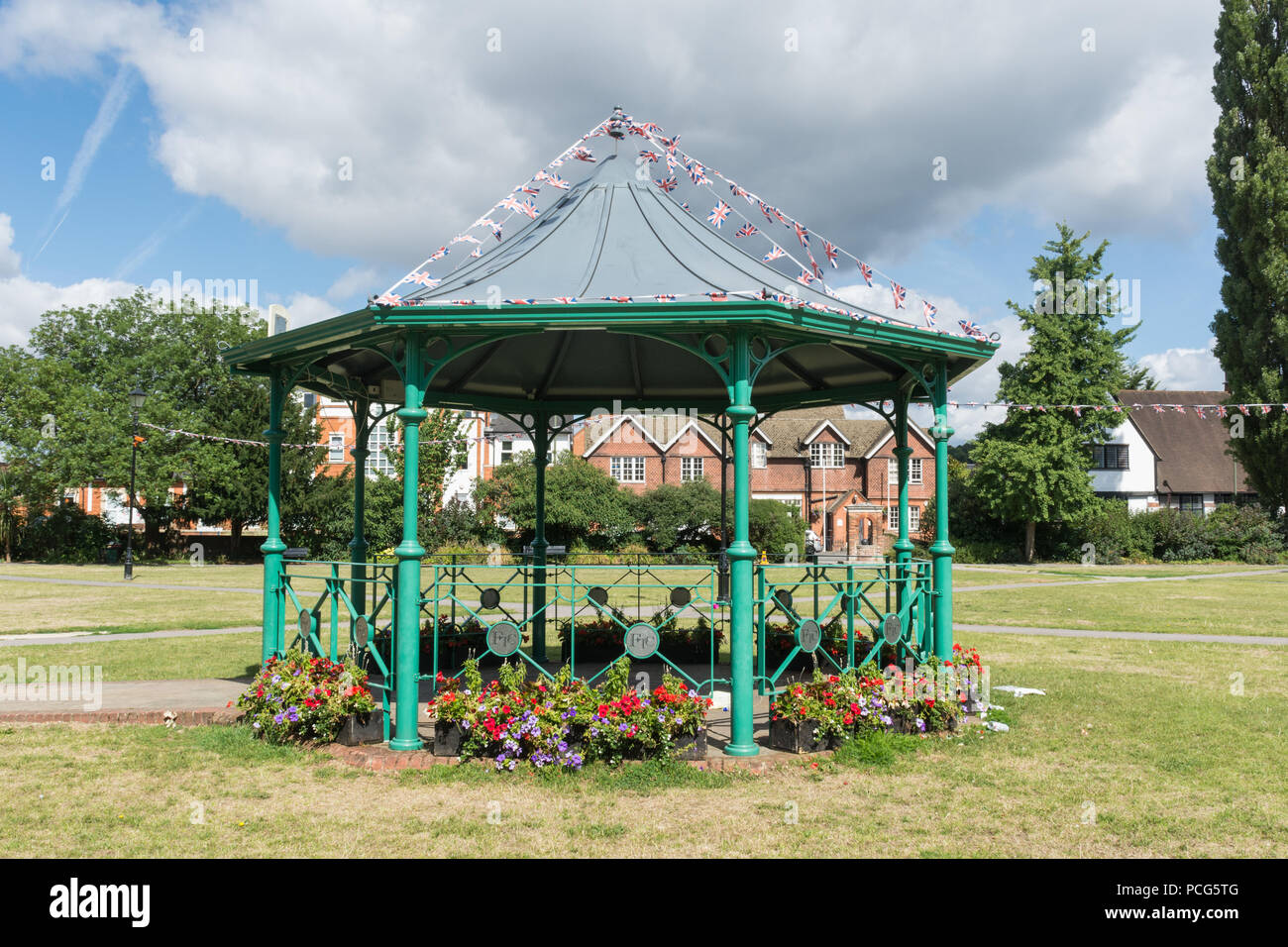 The bandstand in Gostrey Meadow, Farnham, Surrey Stock Photo
