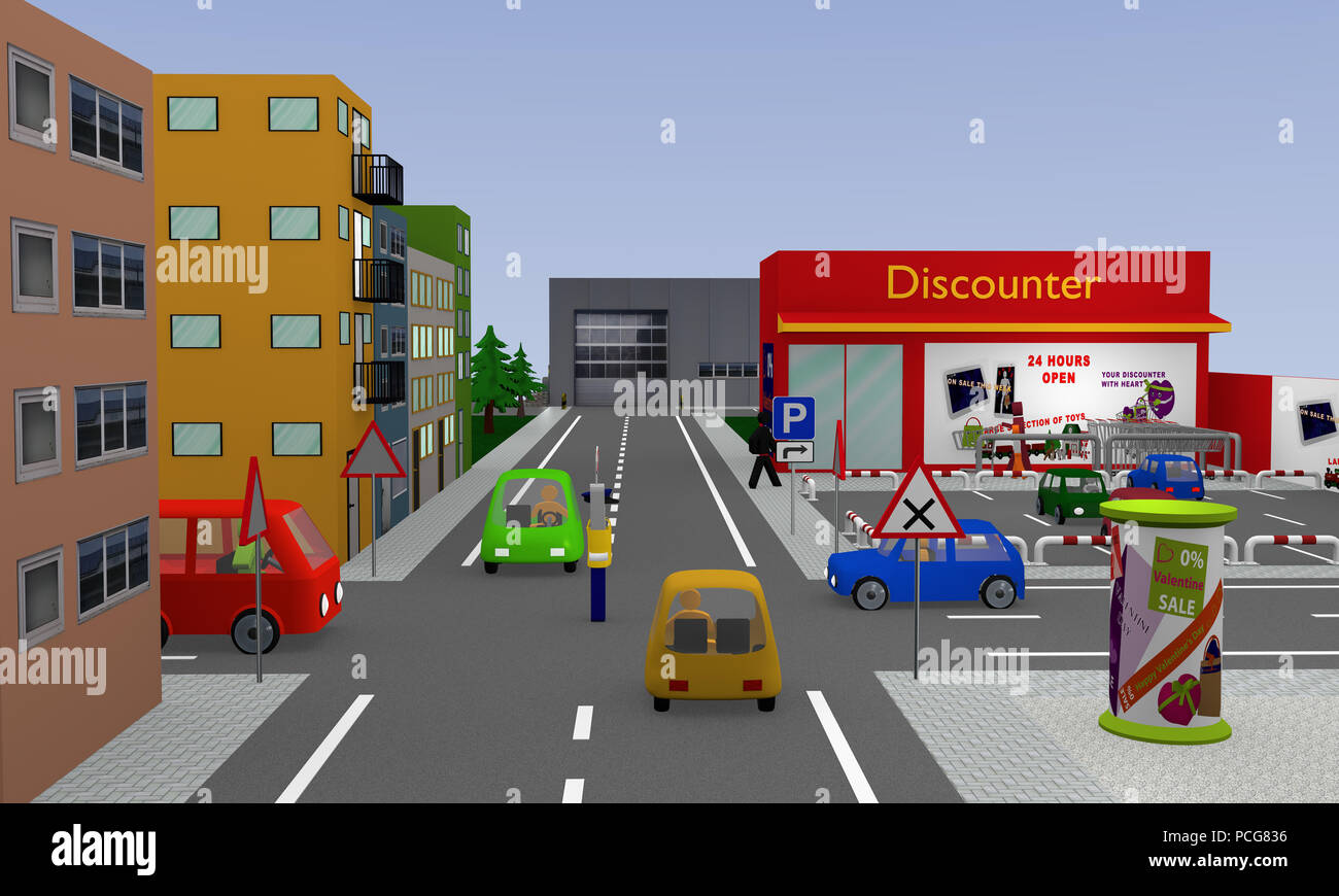 City view with discounter, parking, cars, street signs and policeman with stop sign which regulates the traffic and still shows waiting. 3d rendering - Stock Image