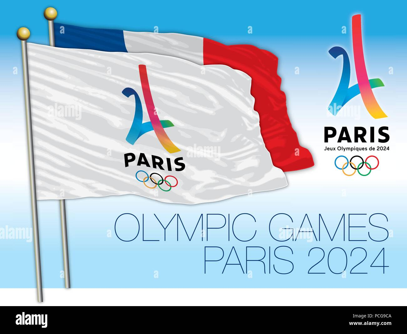 Olympic Games Paris 2024, logo and flags, vector illustration - Stock Vector