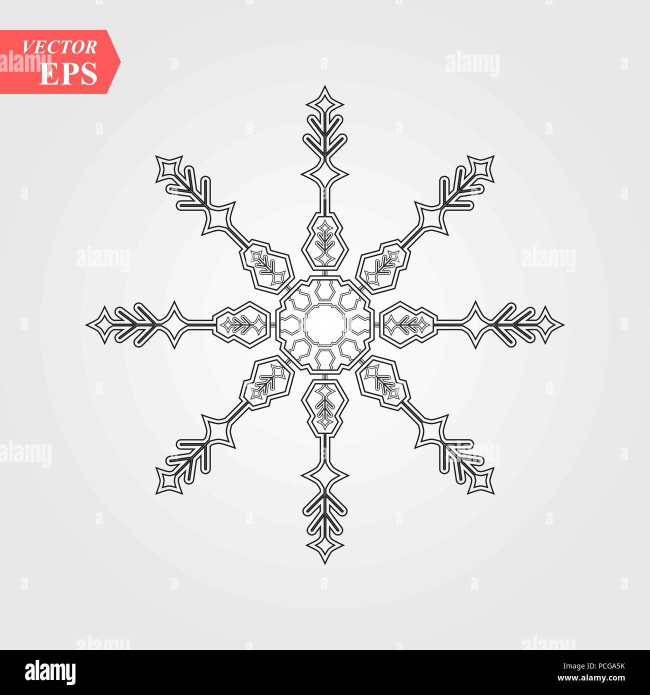 Snowflake Icon Black Silhouette Snow Flake Sign Isolated On White