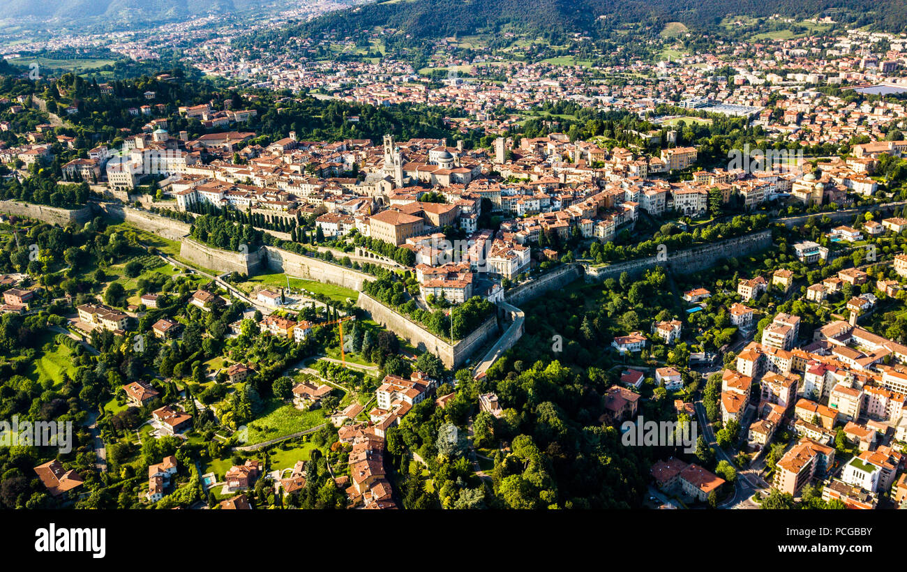 Città Alta or Upper Town, old walled city of Bergamo, Italy Stock Photo