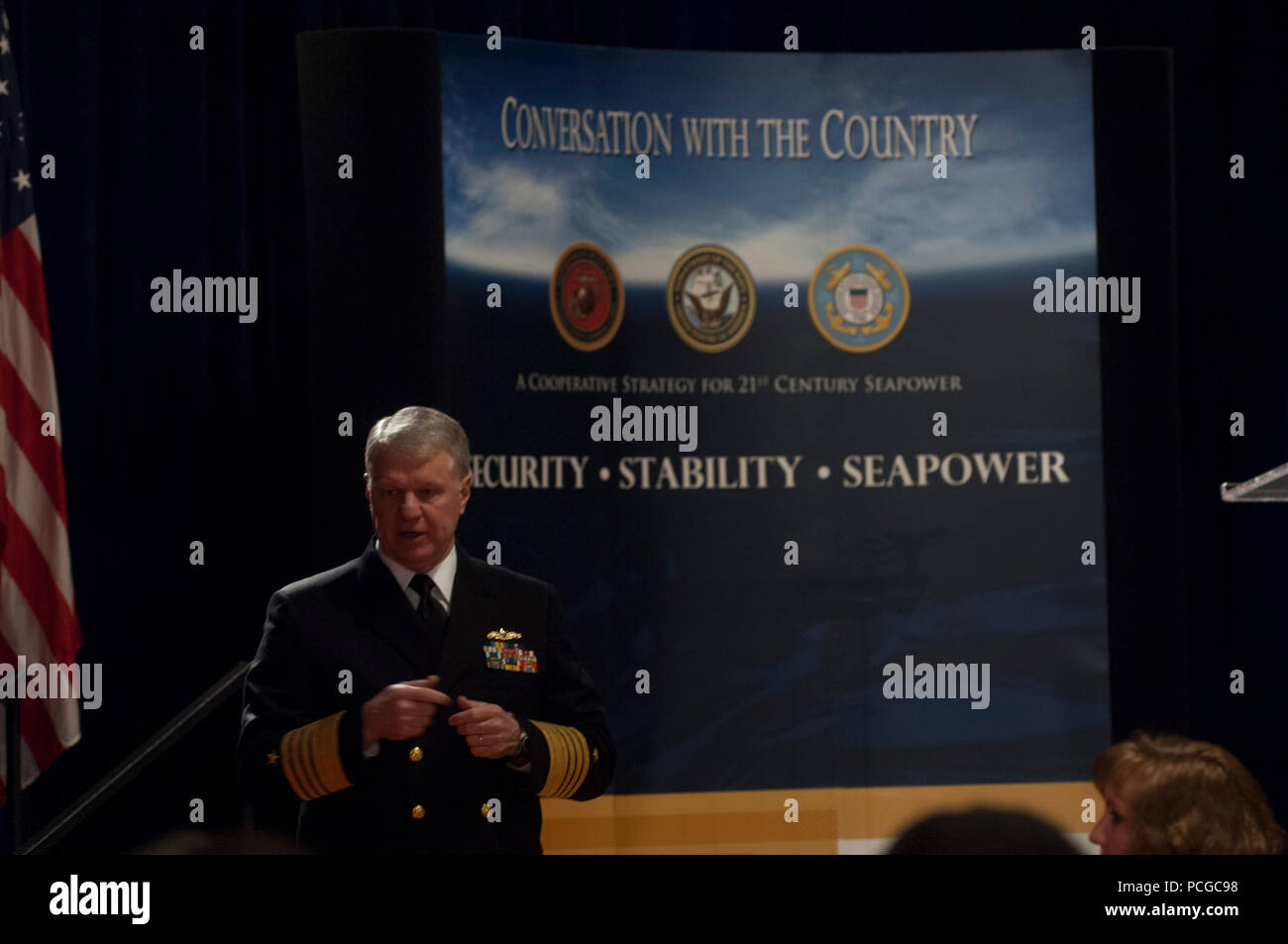 DENVER, Col (March 27, 2008) âÄì Chief of Naval Operations (CNO) Adm. Gary Roughead speaks  with local academia, business leaders and government officials and answers questions during the 'Conversation with the Country' in Denver, Col.  Roughead discussed  the important role of Sailors and Navy civilians in the Cooperative Strategy for 21st Century Seapower. U.S. Navy - Stock Image
