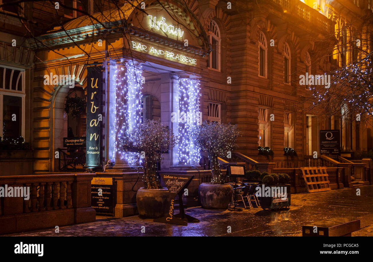 Exterior of Urban, a bar and brasserie in central Glasgow with fairy ...