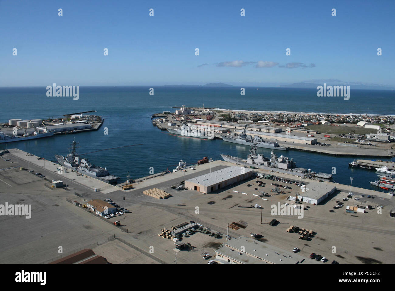 PORT HUENEME, Calif. (Nov. 13, 2012) An aerial view of the Southwest portion of the Naval Base Ventura County deep water port.  This port is the only deep water port between Los Angeles and San Francisco and serves a vital role in the region. Stock Photo