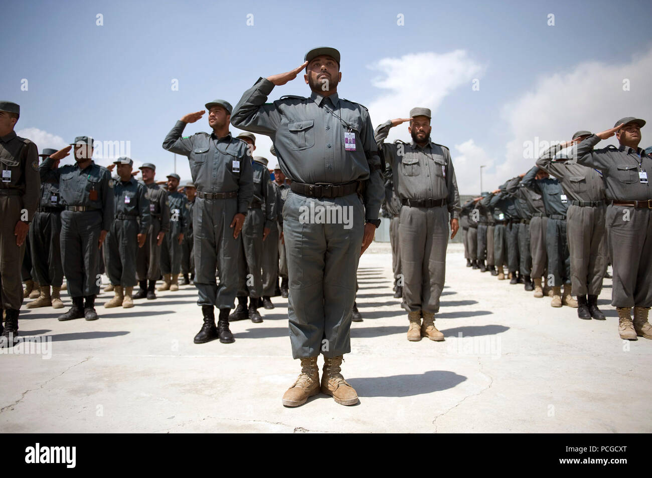 National Police recruits participate in entry level training at the Central Training Center, Kabul, Afghanistan, April 23, 2009. Trainees attend an eight-week program of instruction. ( - Stock Image