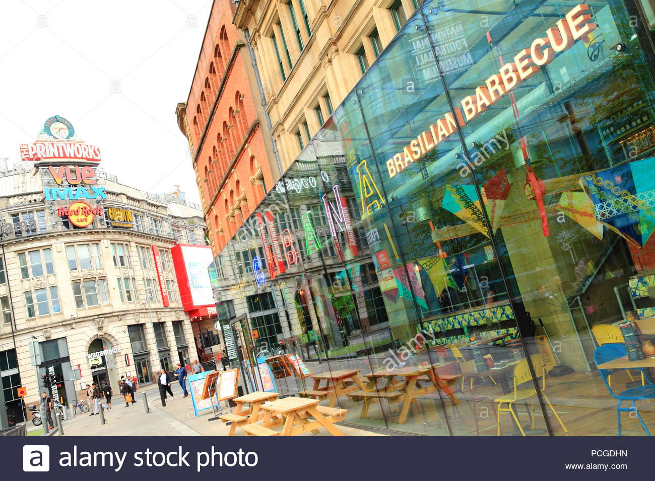 City life around the Printworks at Exchange Square Manchester UK. Summer August 2018 Evening - Stock Image