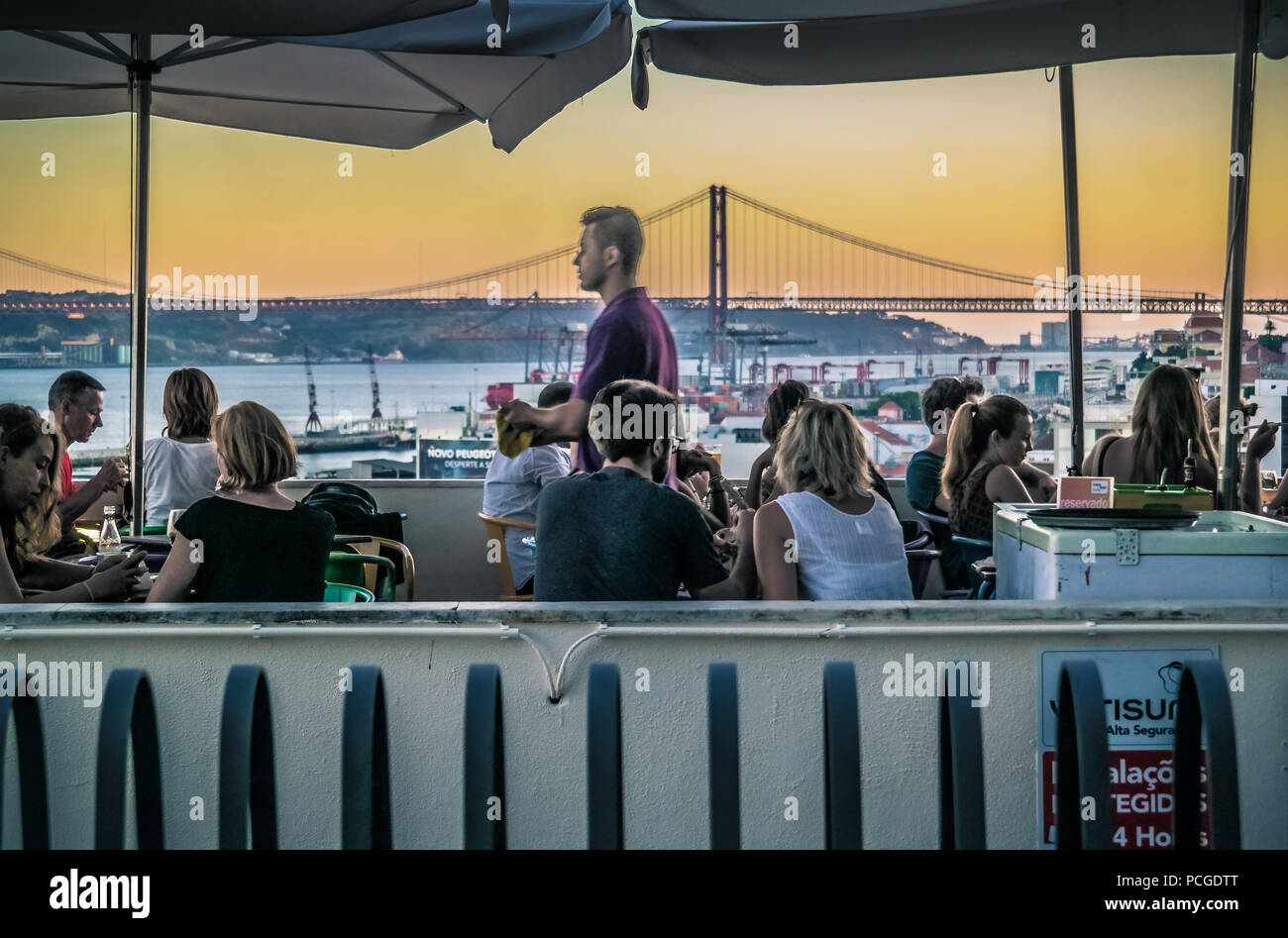 Lisbon. Open air restaurant Noobai on viewpoint Miradouro de Santa Catarina. - Stock Image