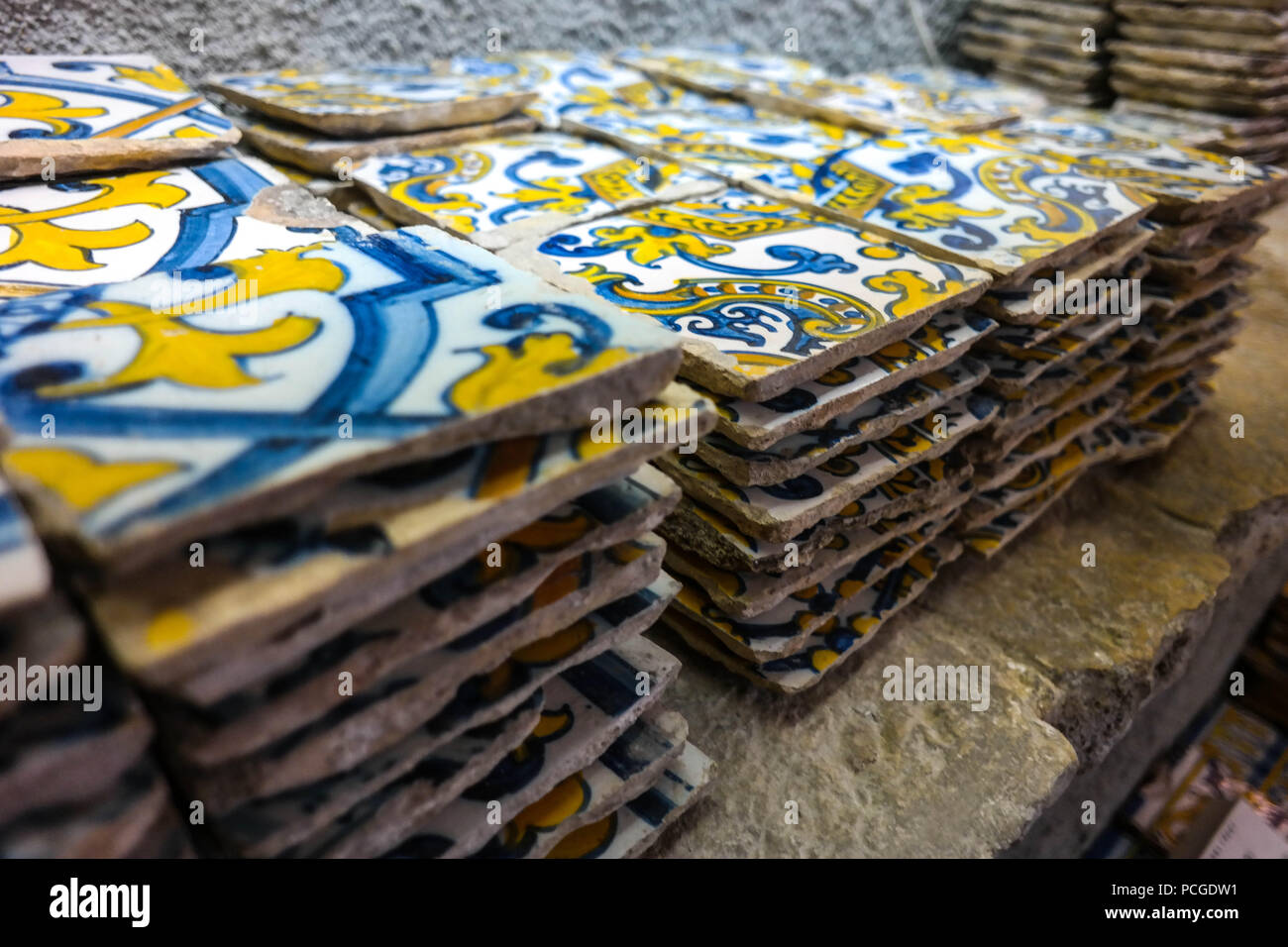 Lisbon. Antique tiles (azuleijos) in a shop in Principe Real Stock Photo