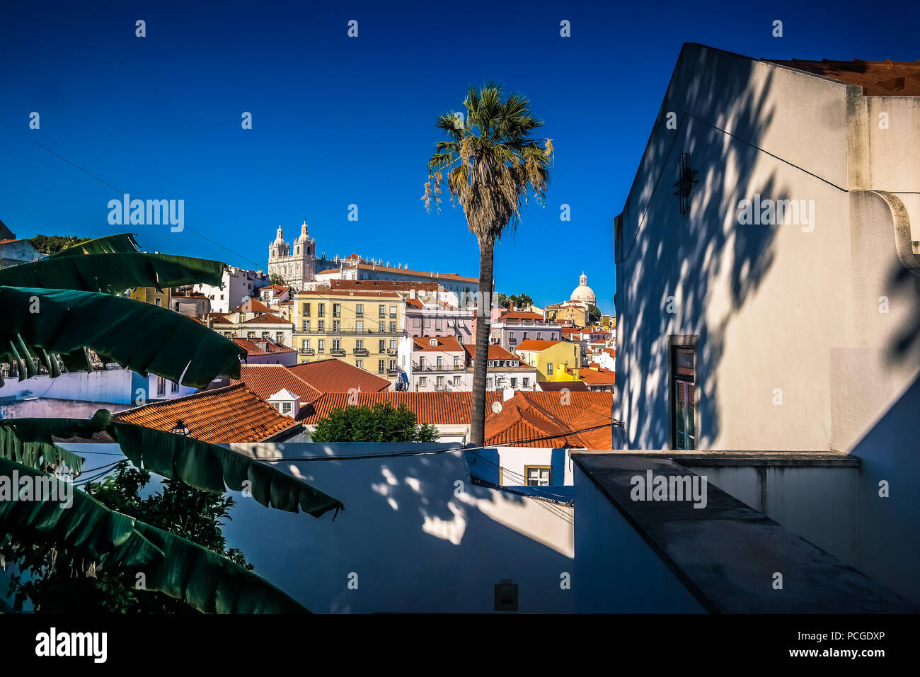 Lisbon. Alfama with view on church São Vicente - Stock Image