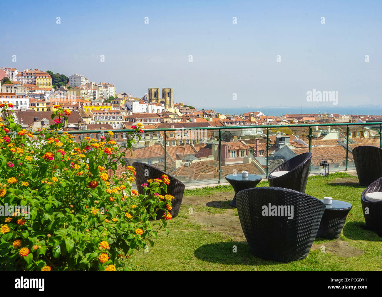 Lisbon. Roof top panorama view - Stock Image