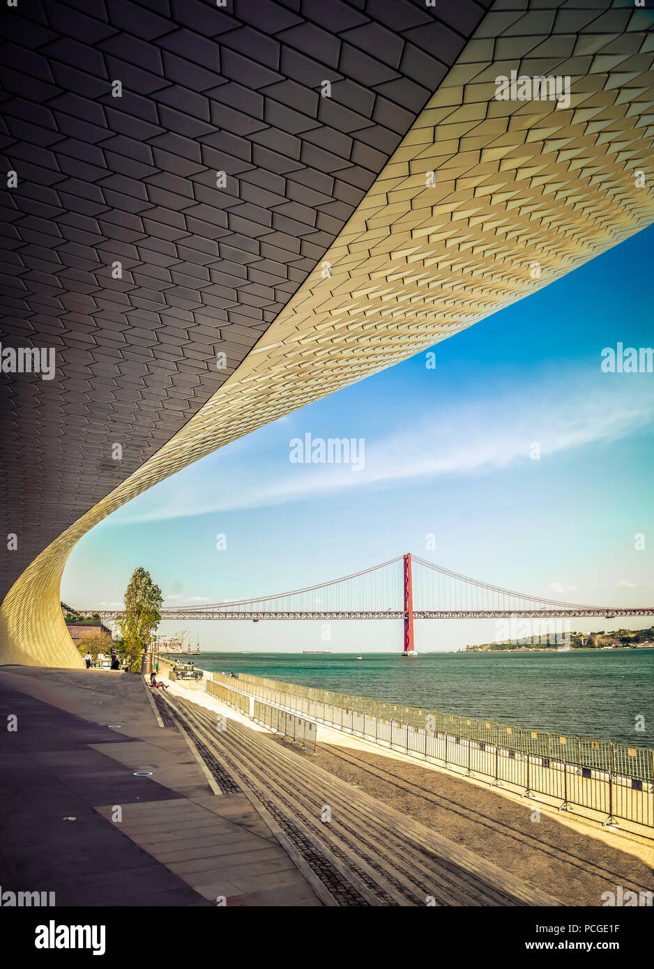Lisbon. New wing of the MAAT museum by the Targus. Stock Photo