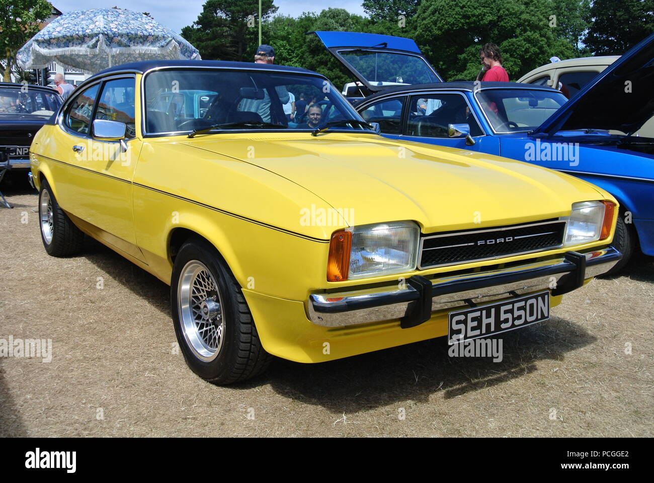 A Ford Capri MkII parked up on display at the English Riviera classic car show, Paignton, Devon, England, UK - Stock Image