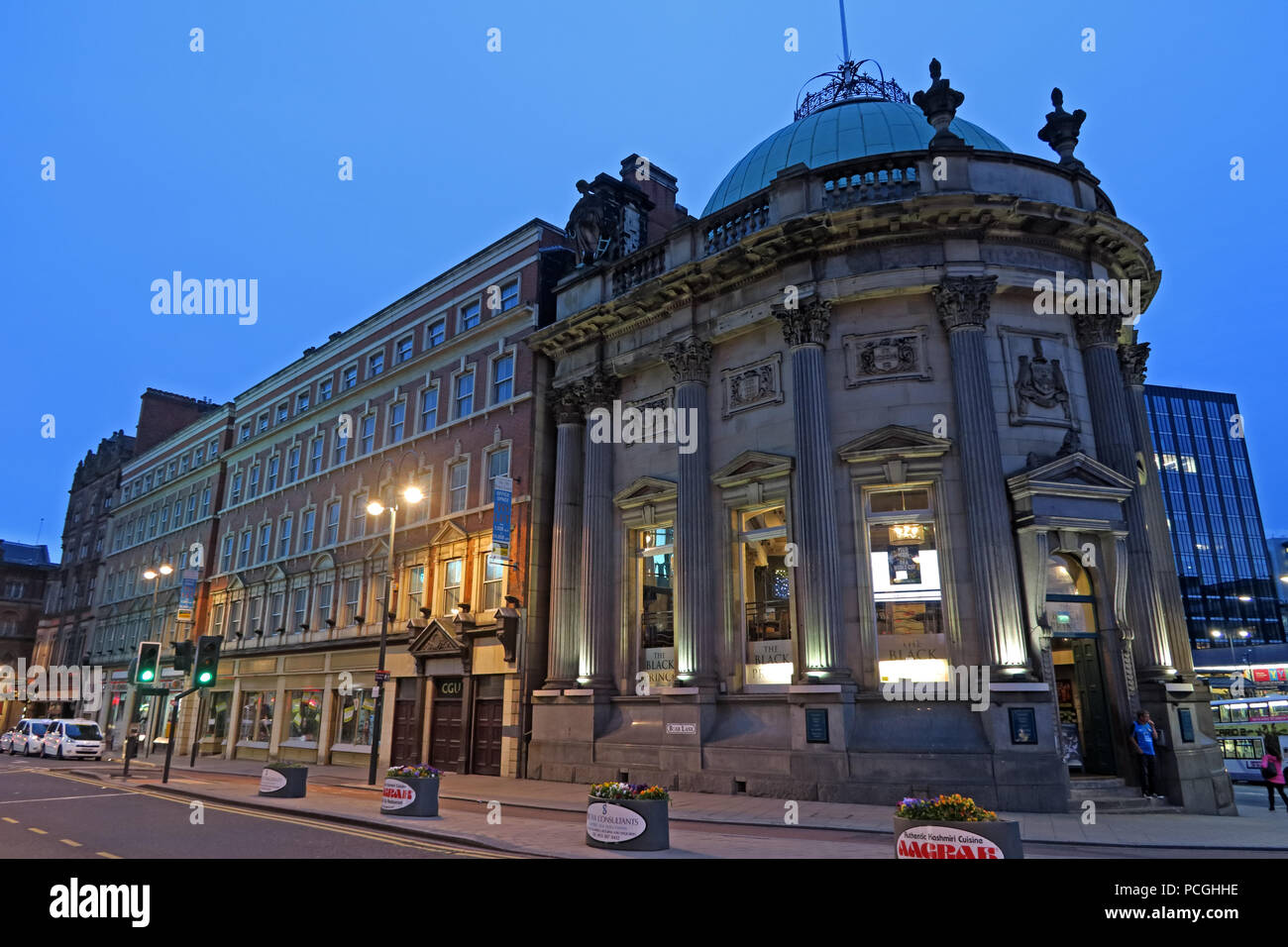 The Black Prince at dusk, Leeds city centre, West Yorkshire, England, LS1, UK - Stock Image