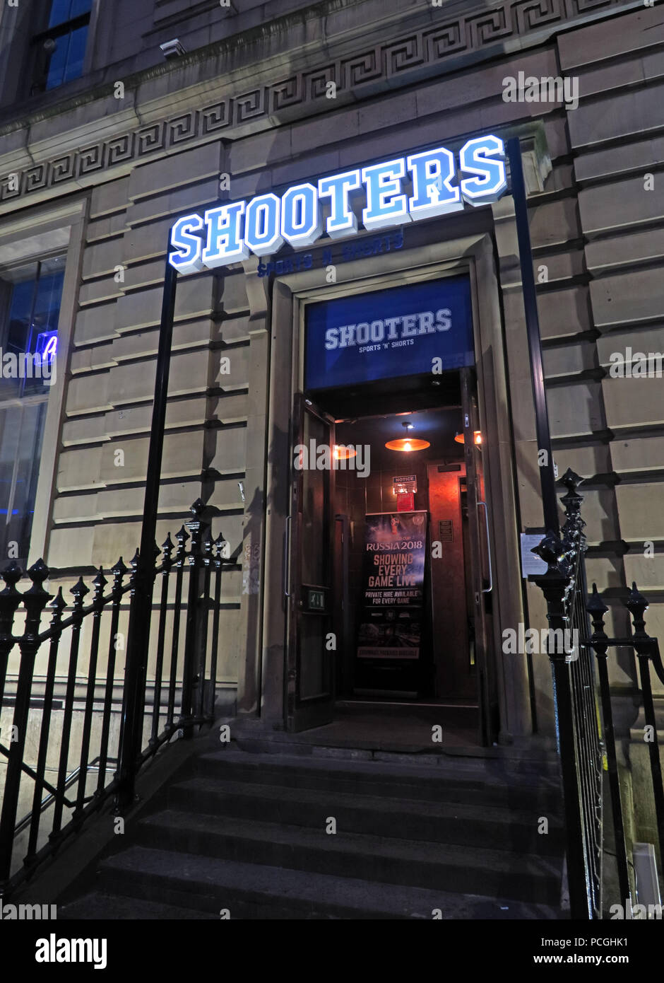 Shooters bar, The Headrow, Leeds city centre, West Yorkshire, England, LS1, UK - Stock Image