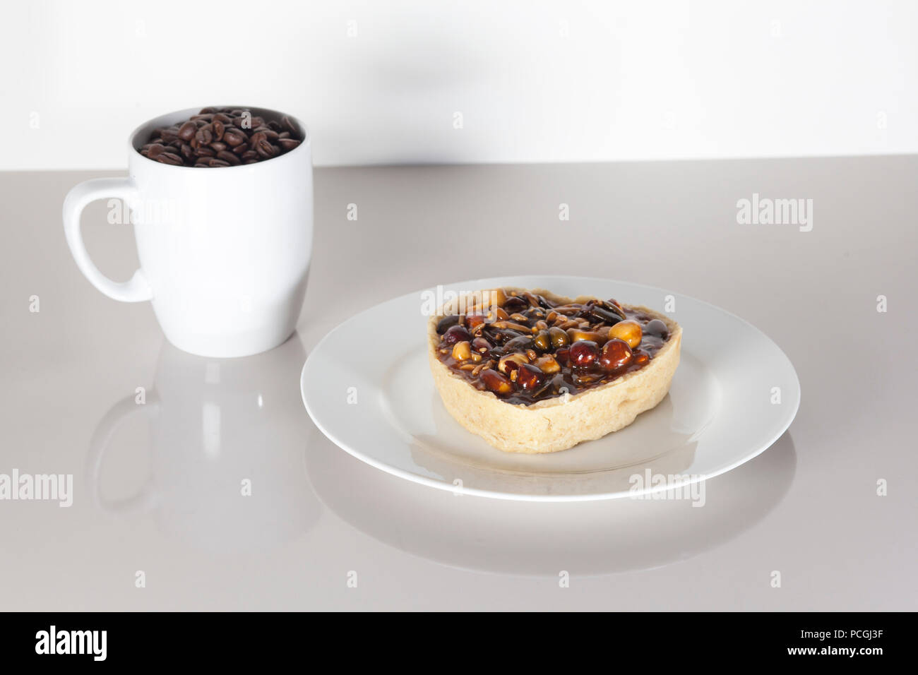Nice and mouth watering breakfast in friendly neutral colors with textspace - Stock Image