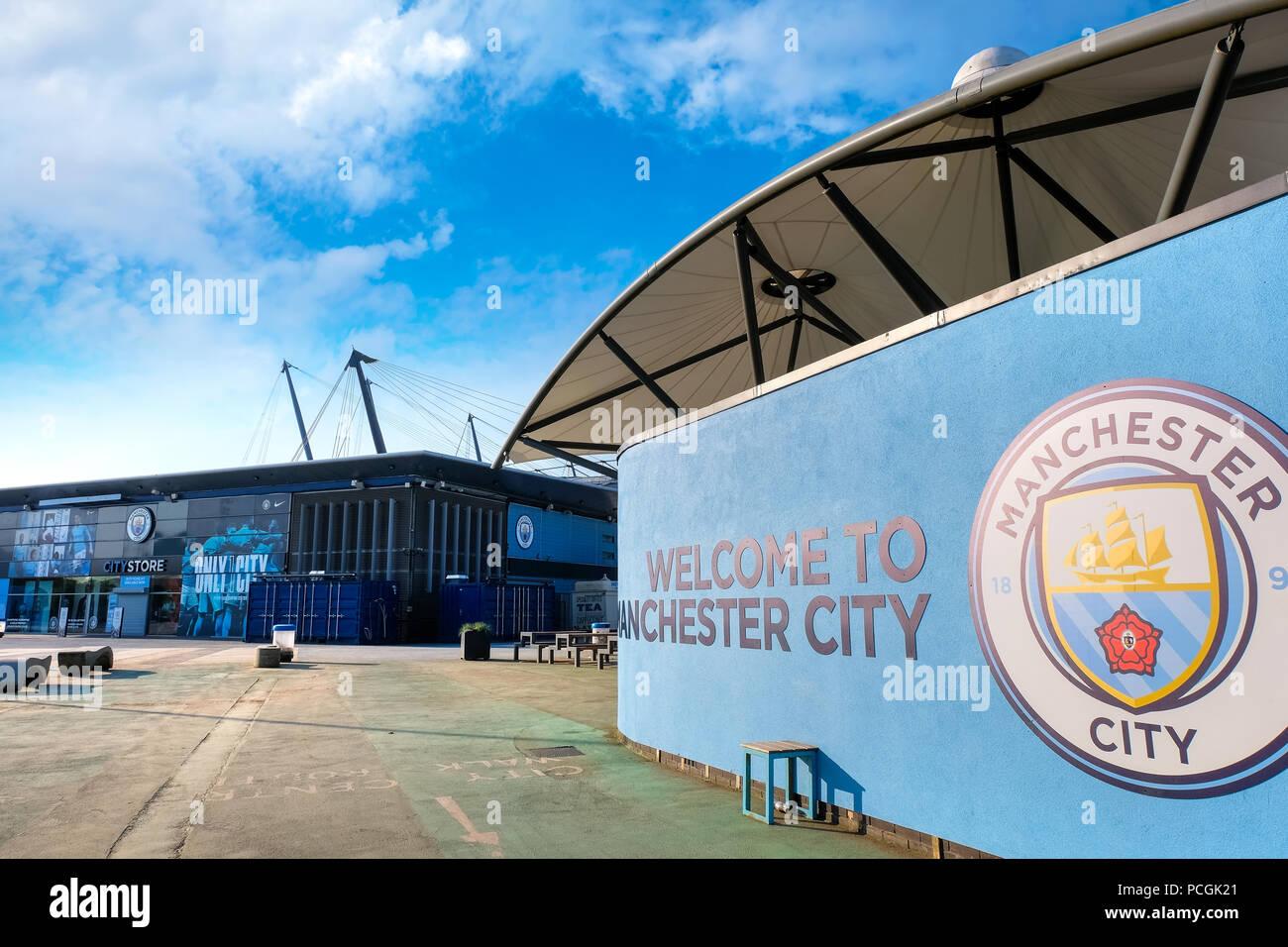 Etihad Stadium of Manchester City Football Club in Manchester, UK - Stock Image