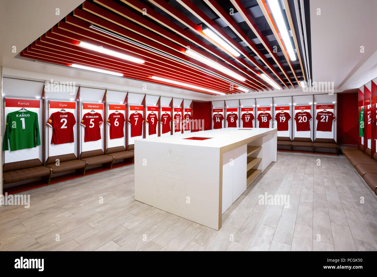 8d6ac22c1 Player s jerseys hung in fornt of lockers in the changing room at Anfield  stadium in Liverpool