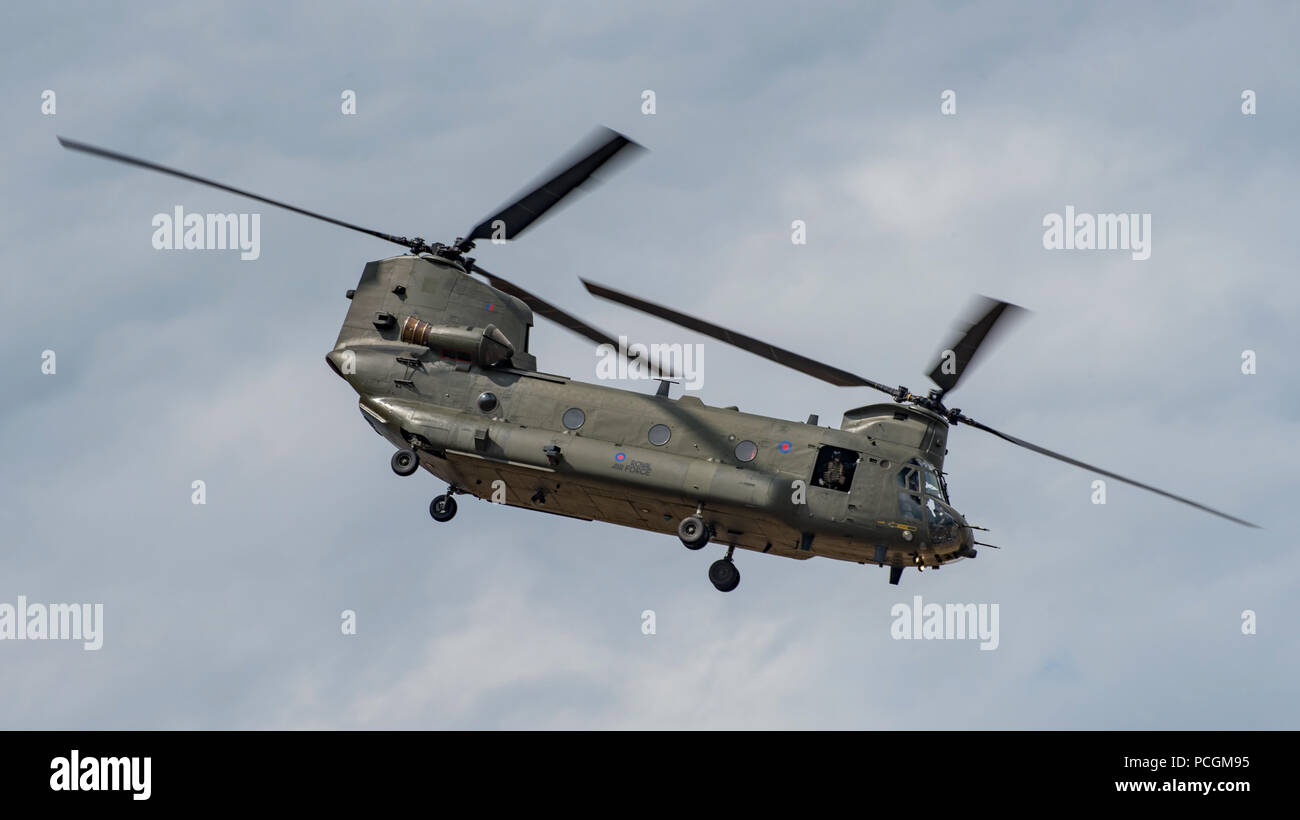 Royal Air Force Chinook HC6A display at the Royal International Air Tattoo, RAF Fairford, UK on the 13th July 2018. - Stock Image