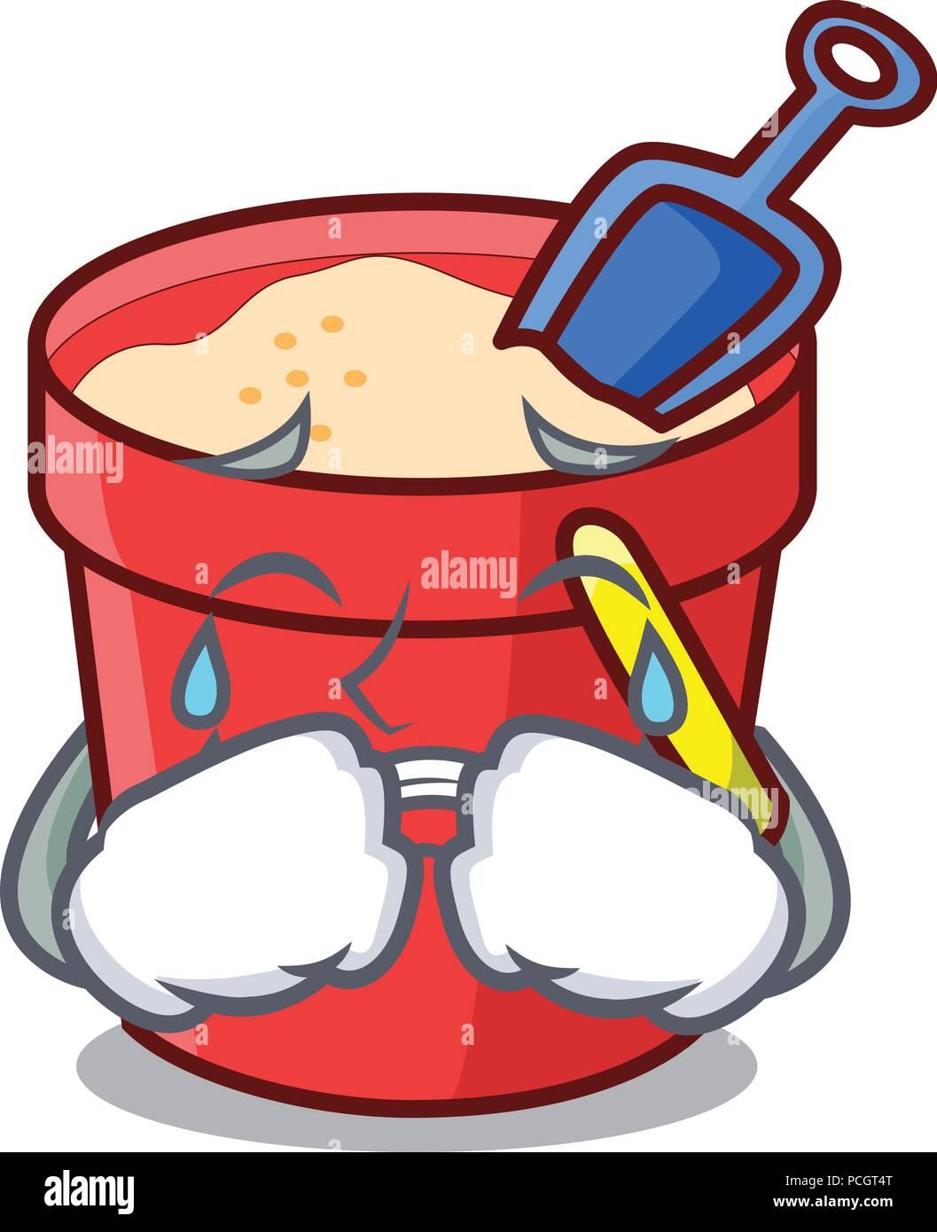 Crying sand bucket mascot cartoon - Stock Vector