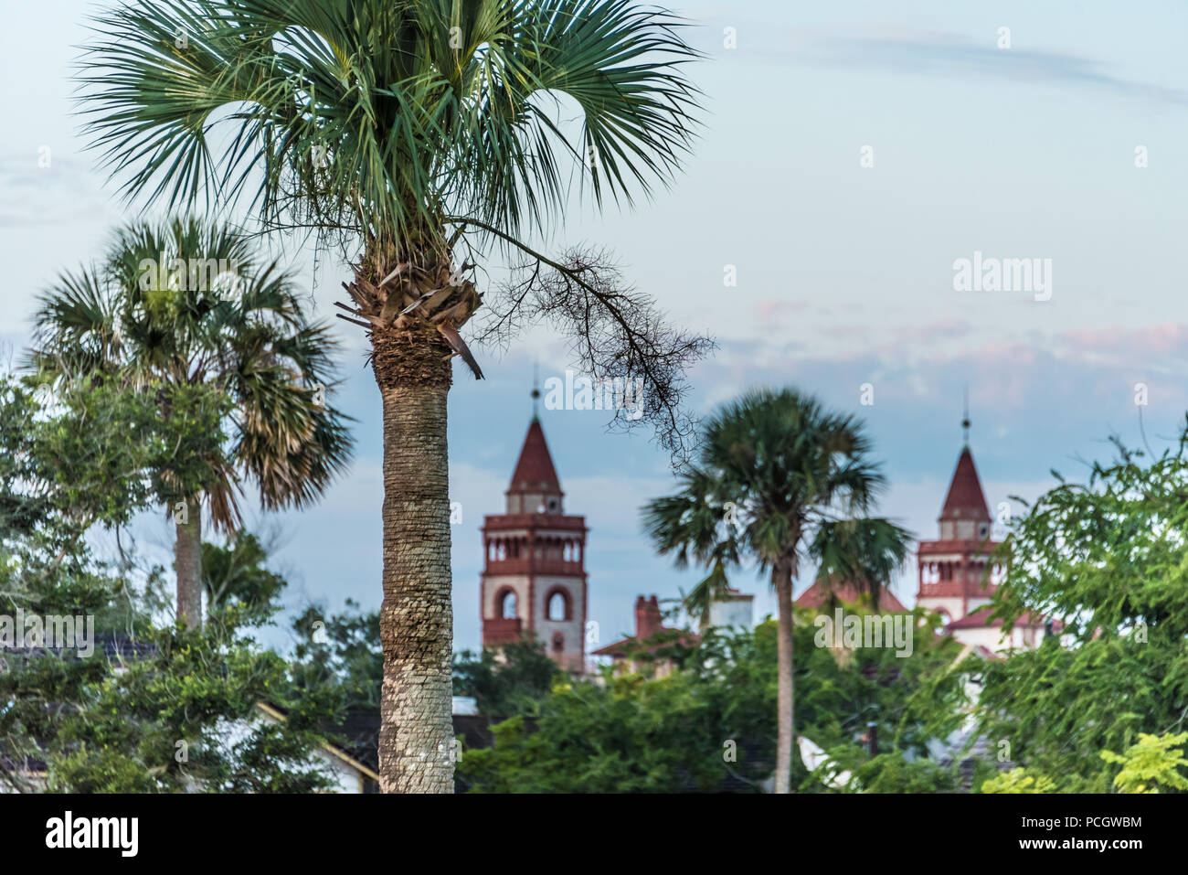 View of St. Augustine, Florida's Flagler College from Castillo de San Marcos National Monument. (USA) - Stock Image