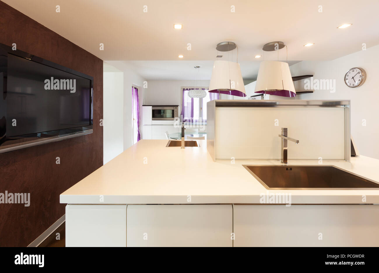 Interior House Nice Domestic Kitchen Counter Top View Stock Photo