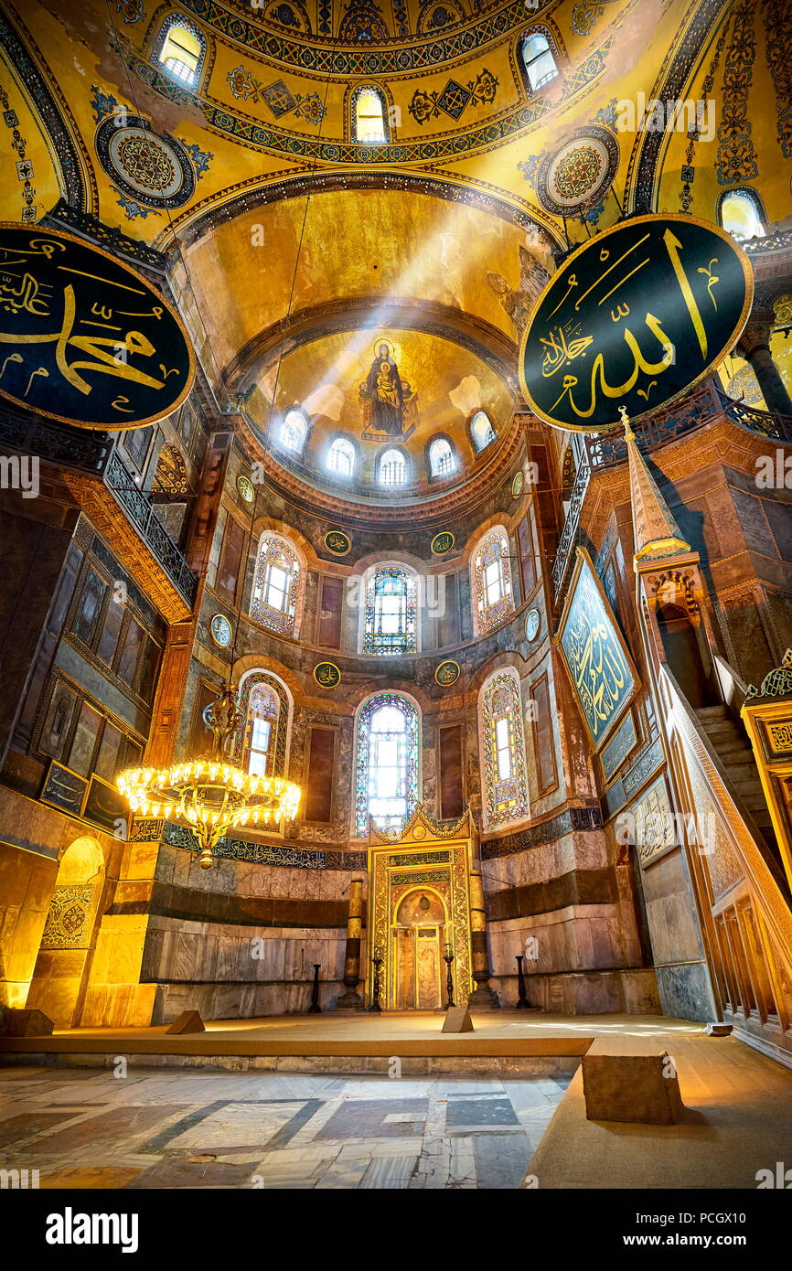 Interior of Hagia Sophia Museum, Istanbul, Turkey - Stock Image