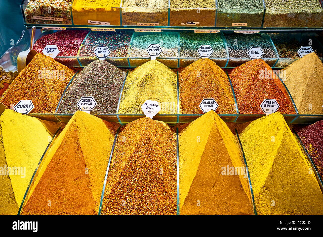 Spices in the The Egyptian Bazaar, Istanbul, Turkey - Stock Image