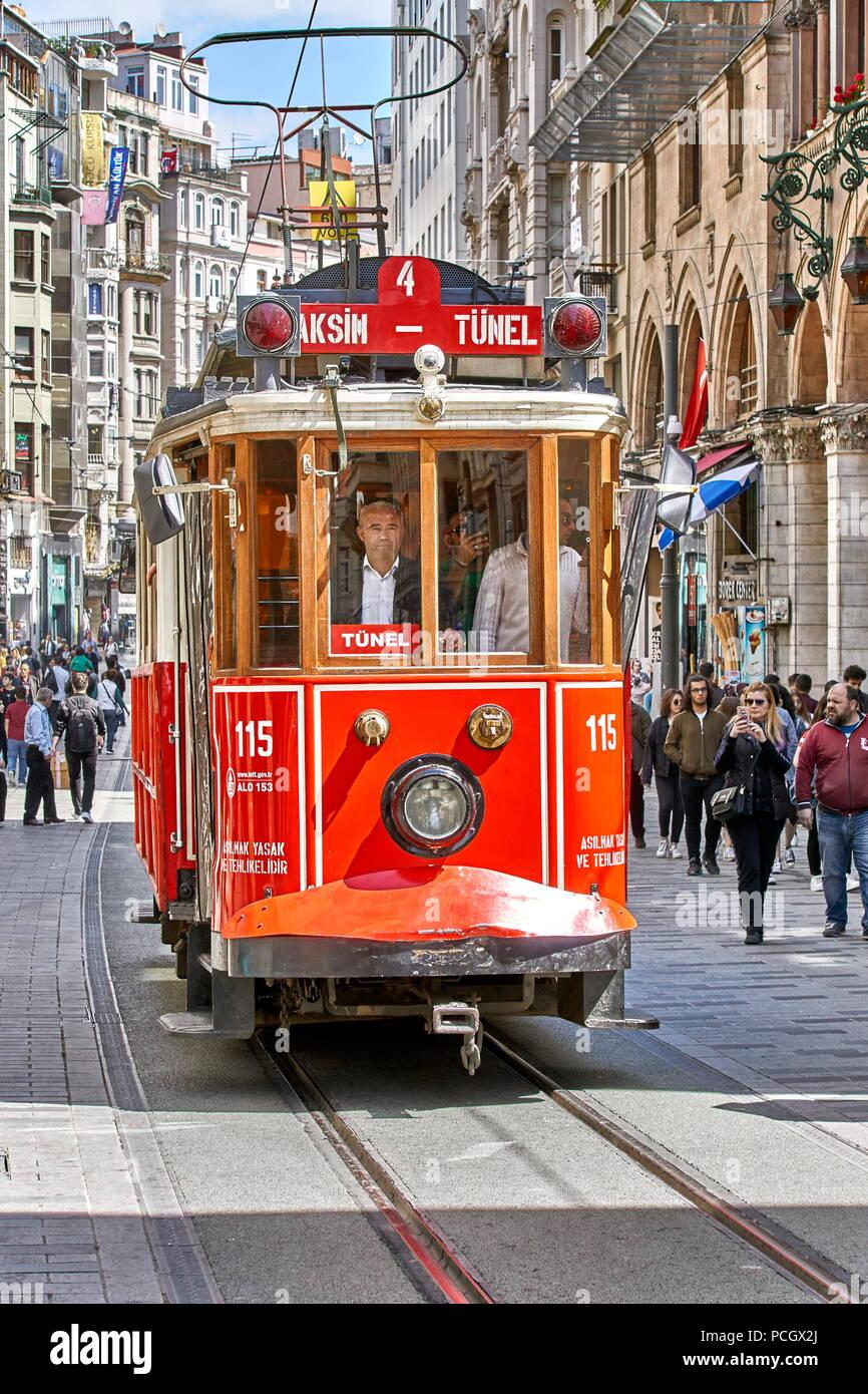 Historic Red Tram, Istiklal Caddesi street, Istanbul, Turkey - Stock Image