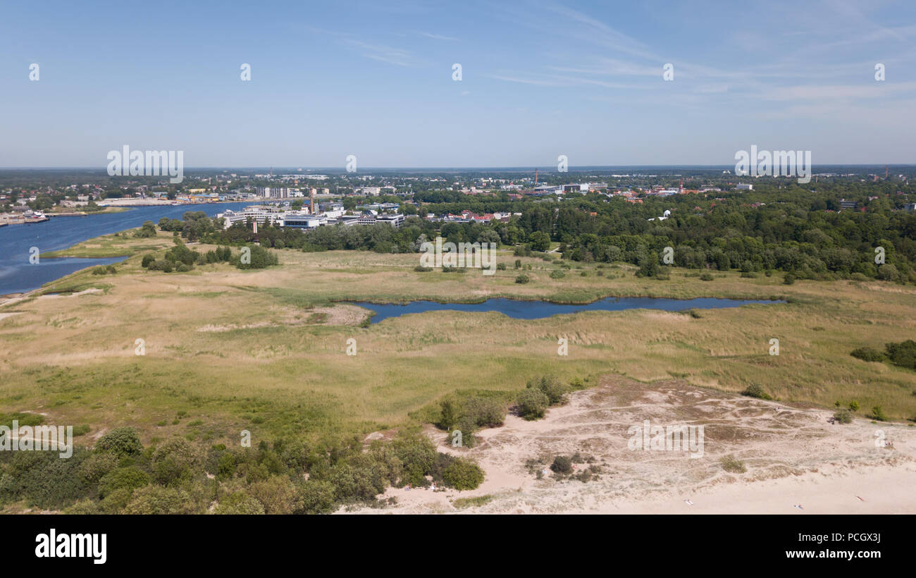 Parnu Estonia  Baltic Sea Seaside Aerial drone top view Stock Photo