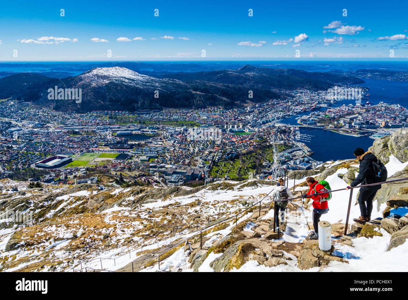 Early spring on mt Ulriken in Bergen, Norway - Stock Image