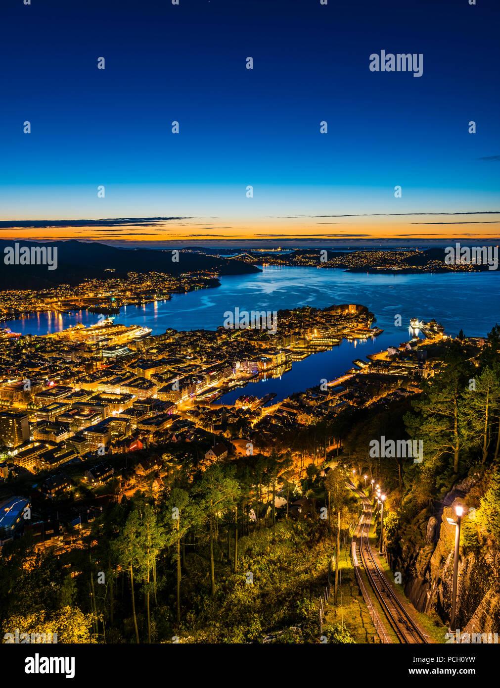 Night view from Fløyen in Bergen, Western Norway - Stock Image