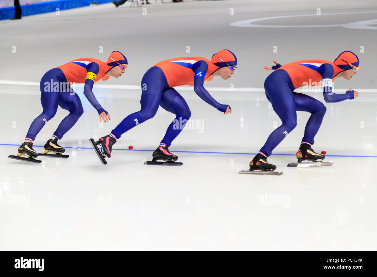 Dutch women Marrit Leenstra #1, Ireen Wuest #3, Antoinette de Jong #4 in the speed skating ladies team pursuit quarterfinals at the Olympic Winter Gam - Stock Image
