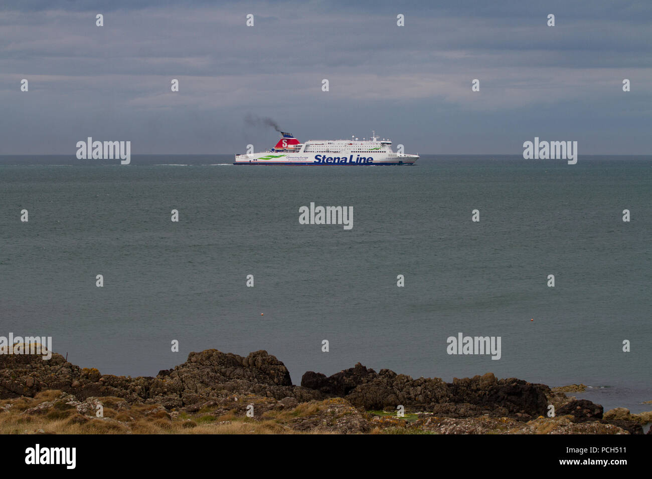 Stena Line ferry in Irish sea near Lock Ryan on way to Cairnryan Ferry Port from Ireland. Scotland - Stock Image
