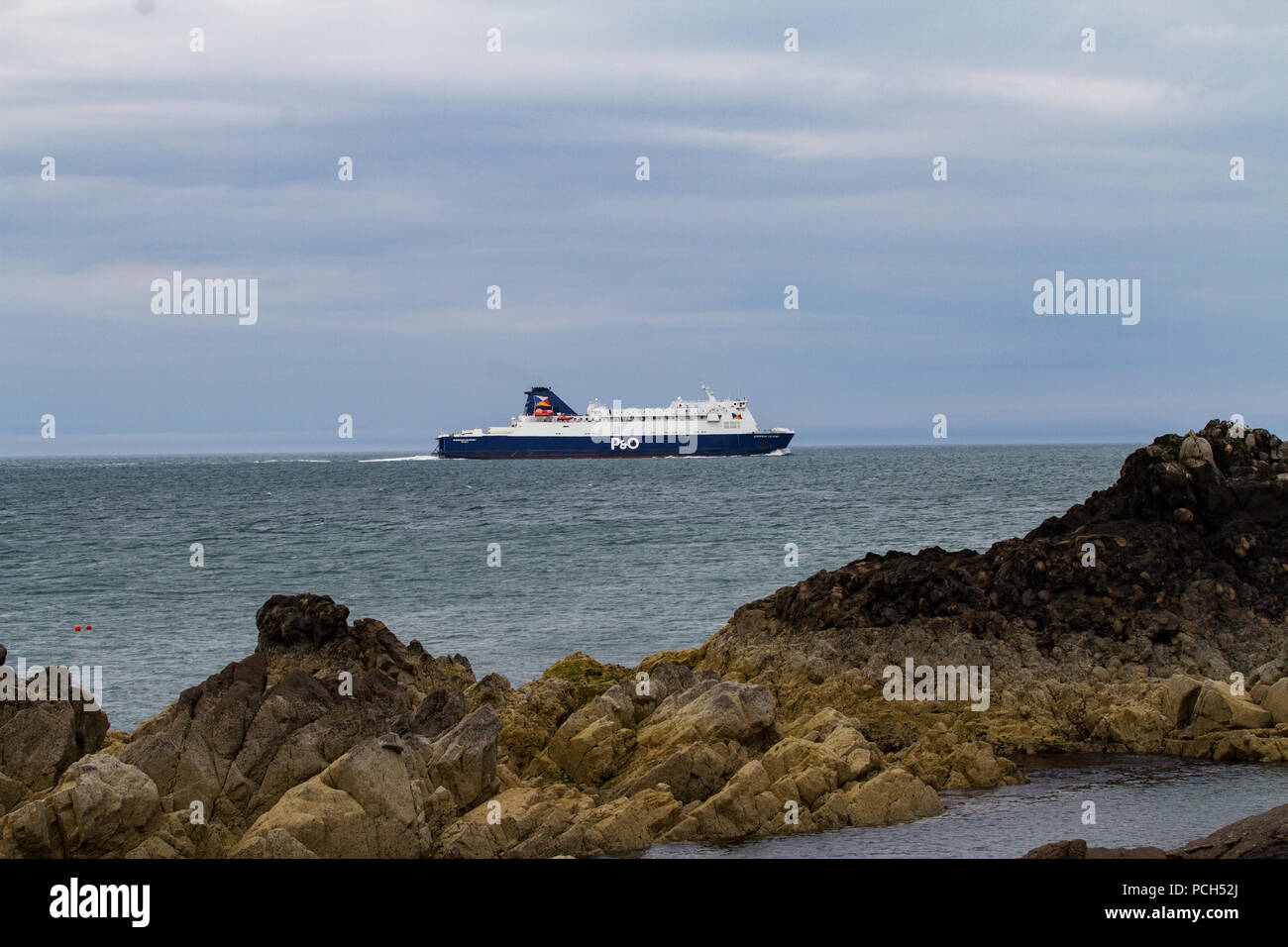 P.O ferry in Irish sea near Lock Ryan on way to Cairnryan Ferry Port from Ireland. Scotland - Stock Image