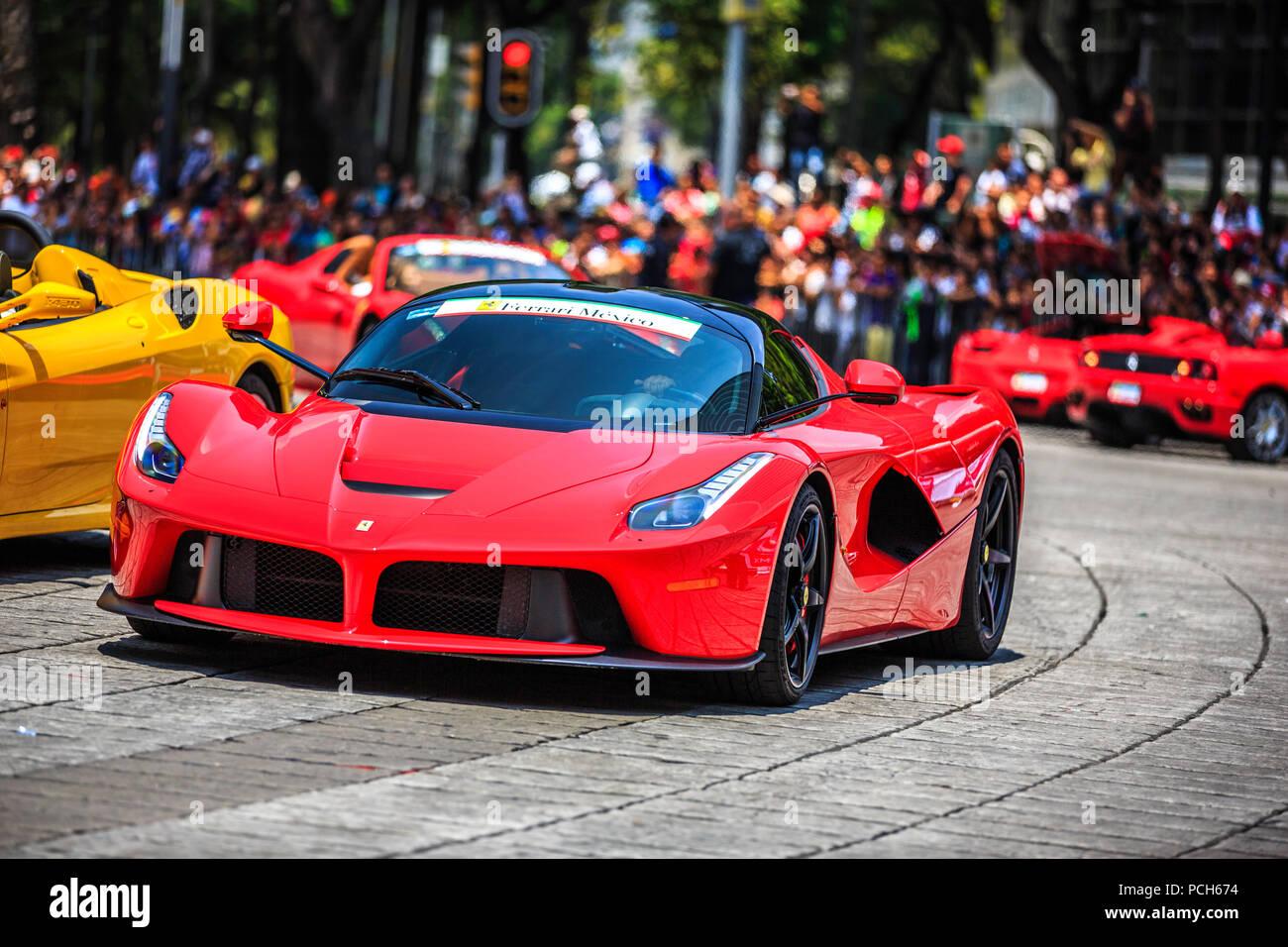 Mexico City Mexico July 08 2015 Ferrari La Ferrari Part Of The Ferraris Car Parade At The Scuderia Ferrari Street Demo By Telcel Infinitum Stock Photo Alamy