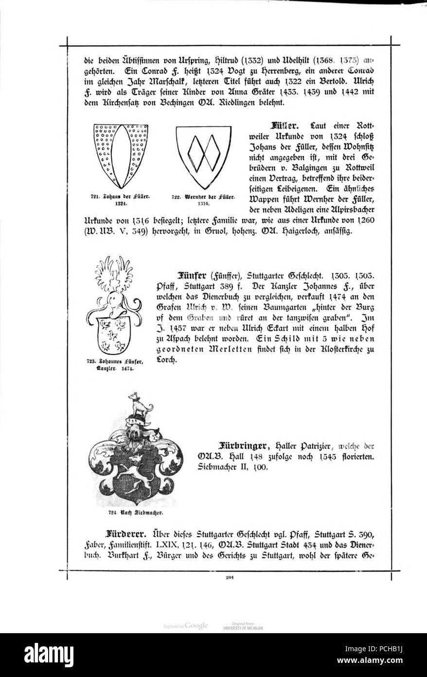 Alberti Wuerttembergisches Adels Und Wappenbuch 0204 Stock Photo