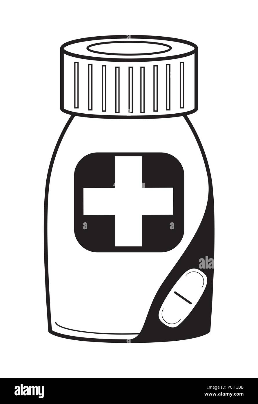 Medicine bottle icon - Stock Image
