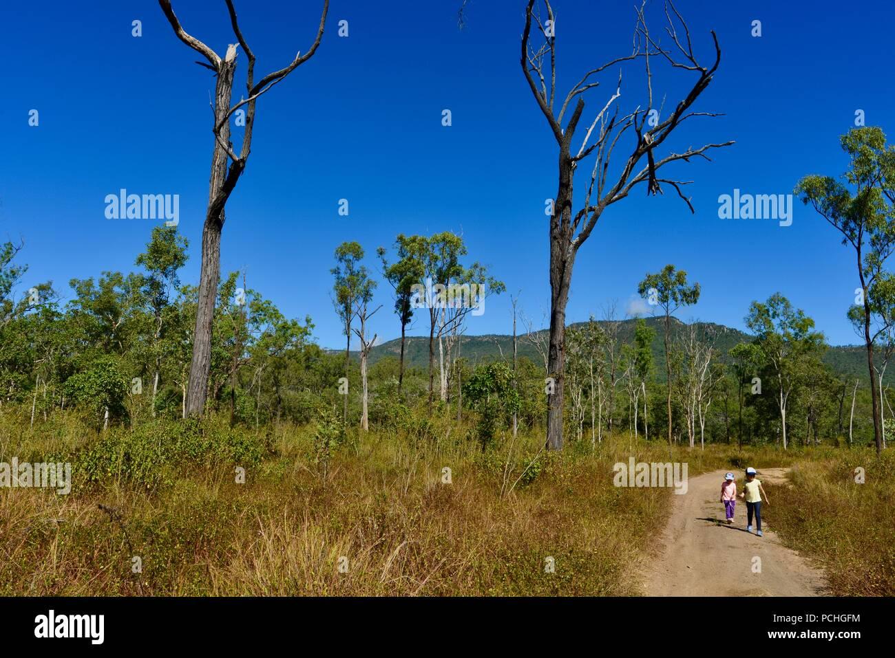 Two children walk down a dry dusty dirt road, Townsville, Queensland, Australia Stock Photo