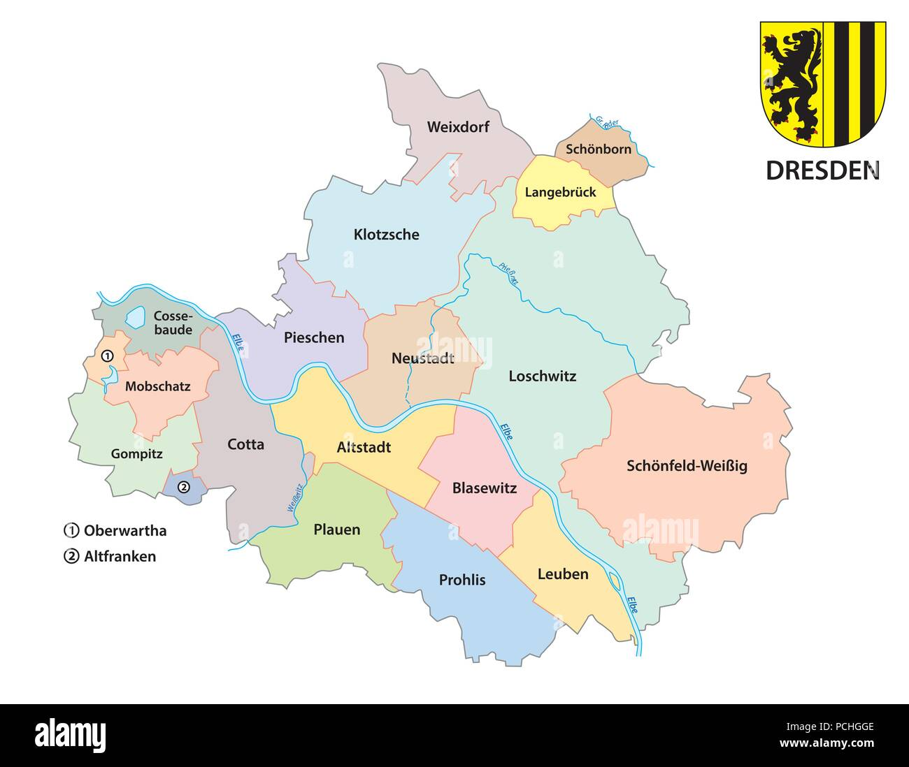 Dresden, administrative and political map of the Saxon capita with coat of armsl. - Stock Vector
