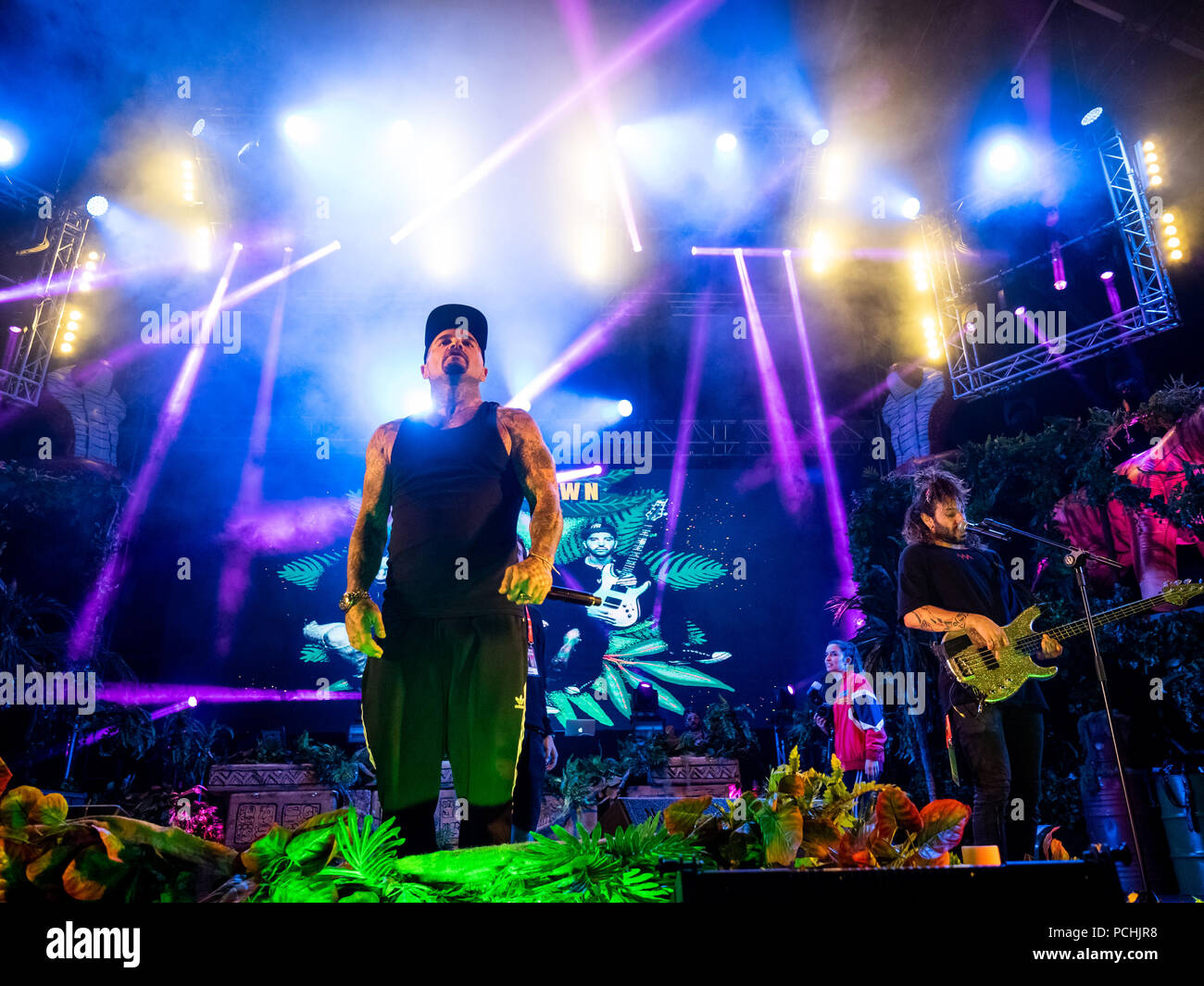 Shifty Shellshock of band Crazy Town performing live on the 3rd day of Rock in Rio Lisboa 2018 at Parque da Bela Vista in Lisboa  Featuring: Shifty Shellshock Where: Lisbon, Portugal When: 29 Jun 2018 Credit: Rui M Leal/WENN.com - Stock Image