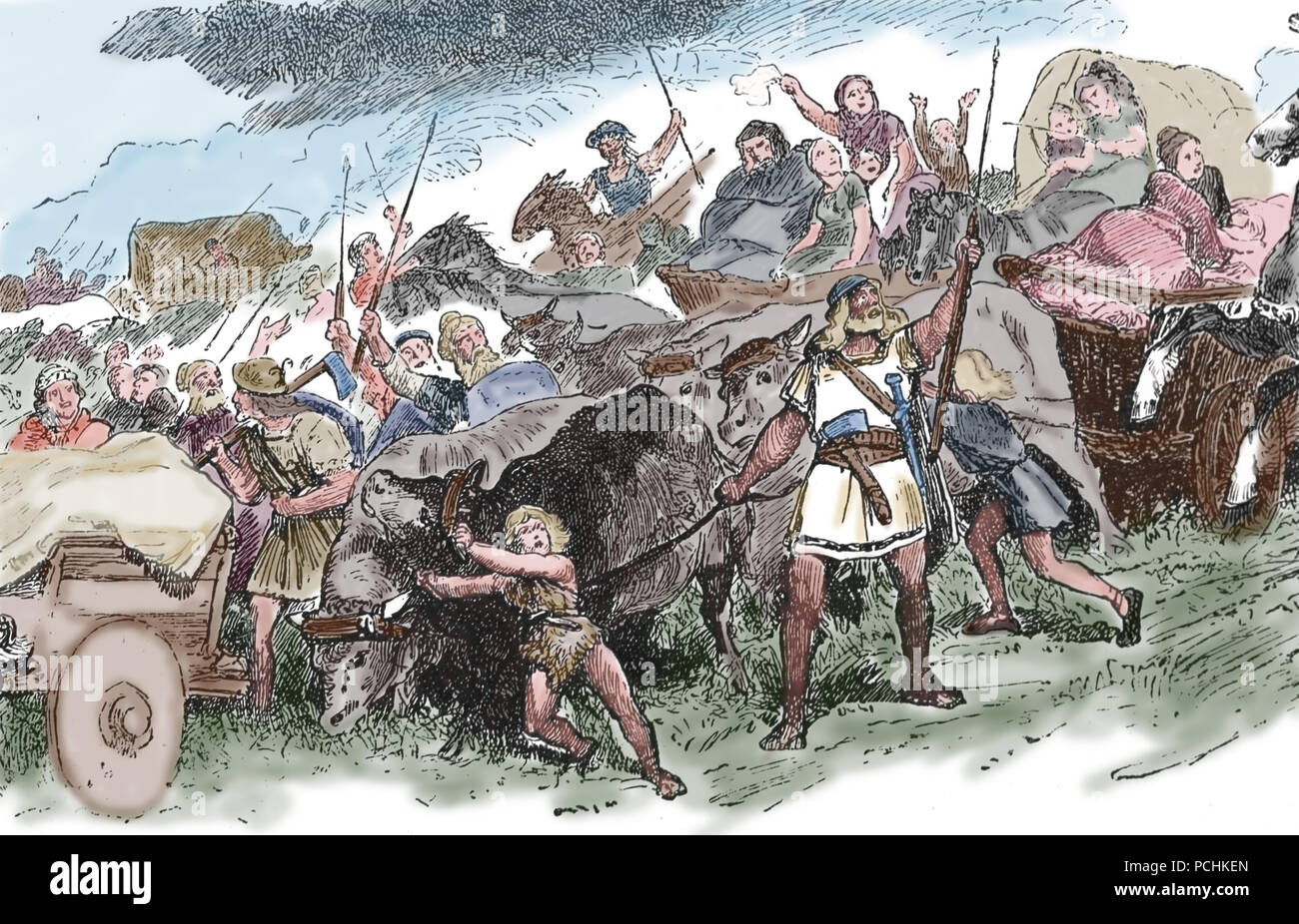 Migration Period (Germanic Tribes and the Huns). 4th-6th century. Engraving, 1882. Color. - Stock Image