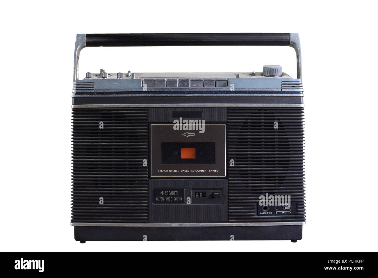 Retro cassette recorder radio isolated on white background, picture have clipping path. - Stock Image
