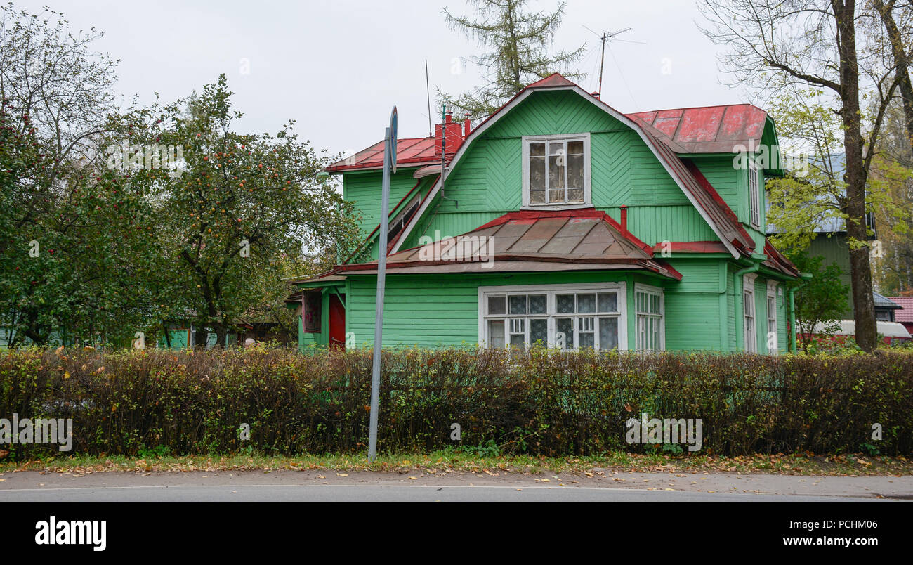 Old rural house with apple garden in St  Petersburg, Russia