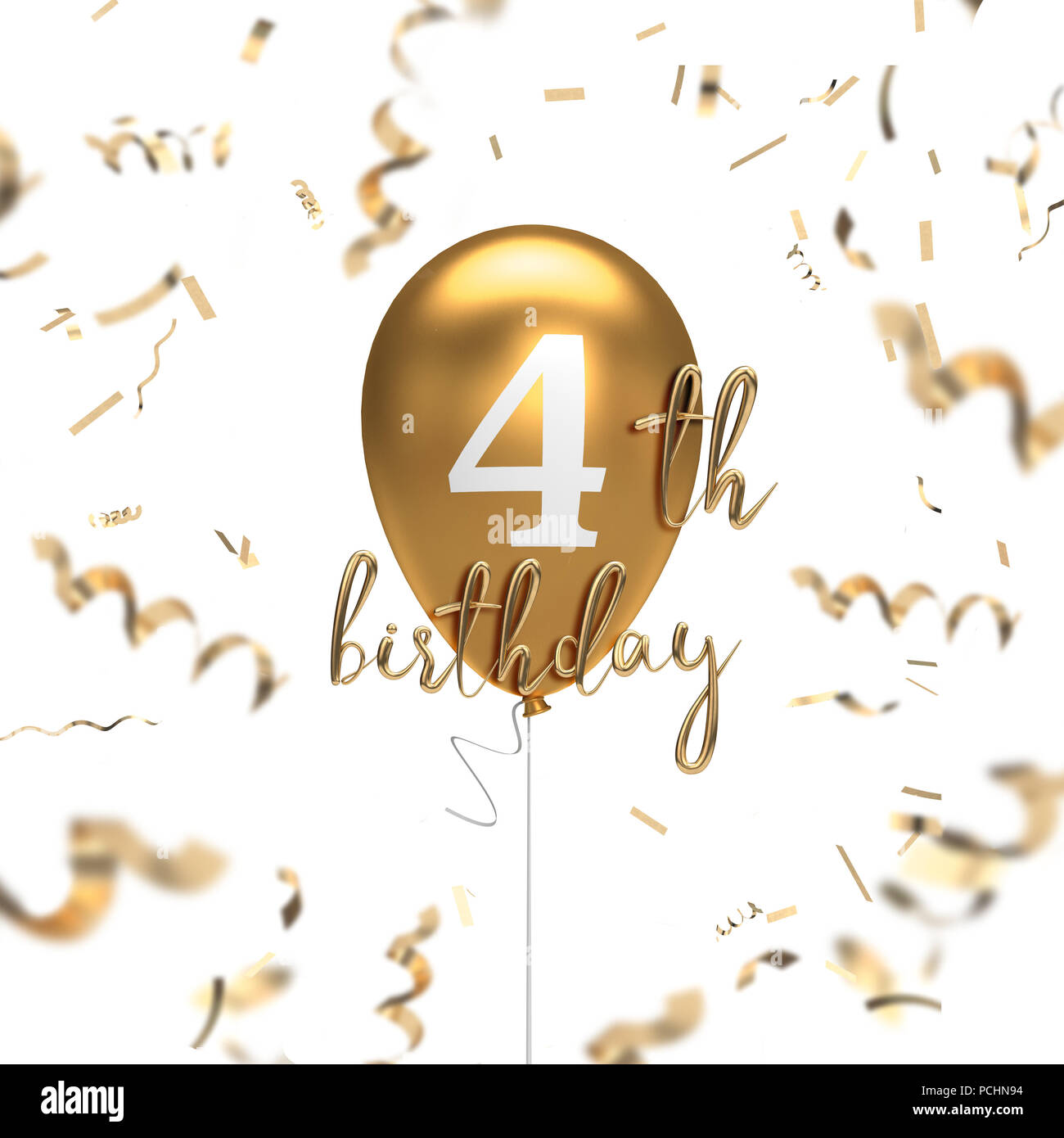Happy 4th Birthday Gold Balloon Greeting Background 3D Rendering