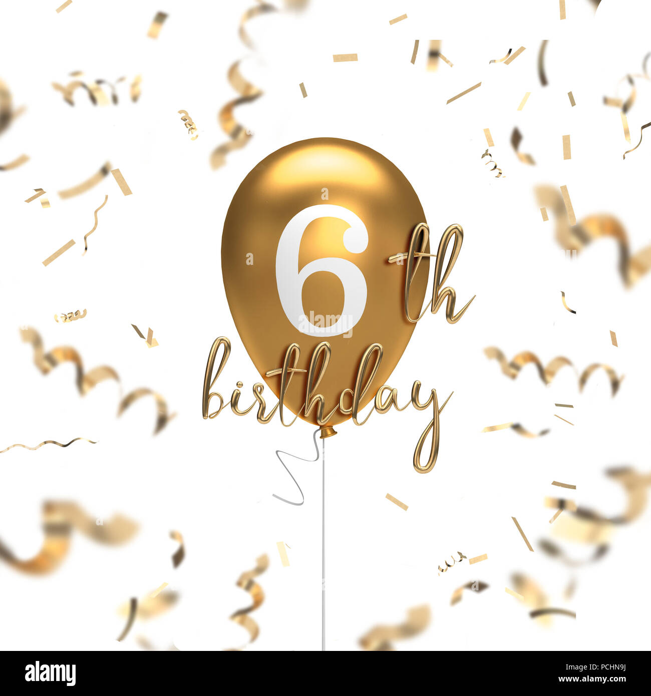 Happy 6th Birthday Gold Balloon Greeting Background 3D Rendering